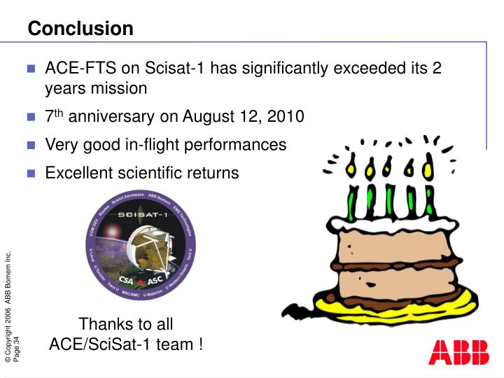 ACE-FTS on Scisat-1 has significantly exceeded its 2 years mission