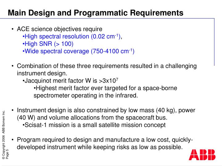 Main Design and Programmatic Requirements