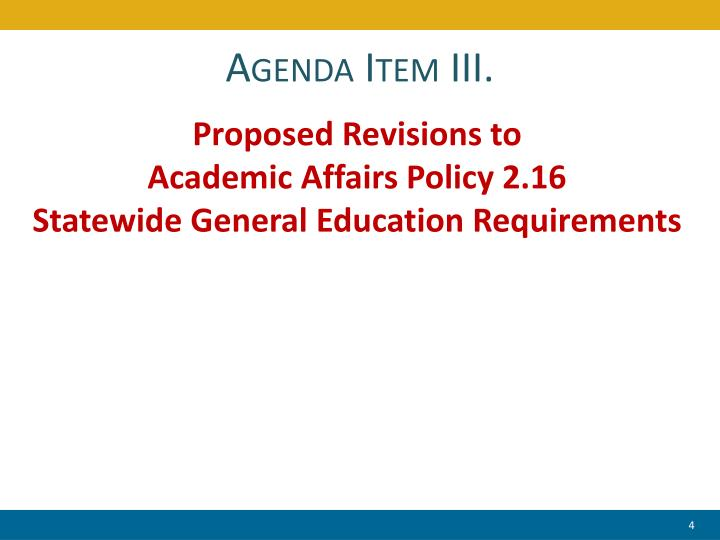 Agenda Item III.