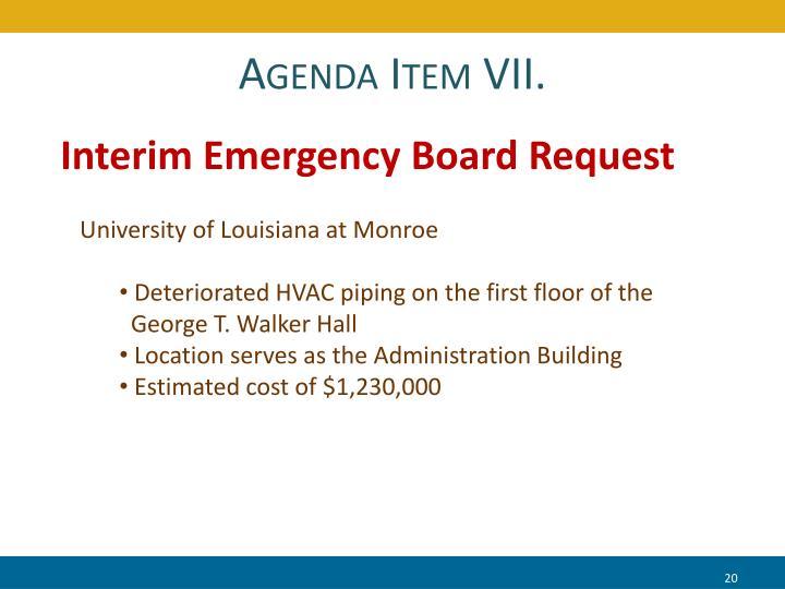 Agenda Item VII.