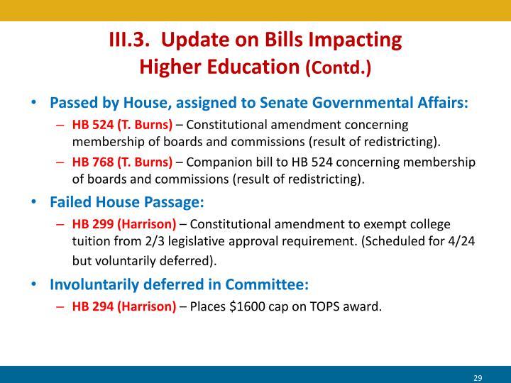 III.3.  Update on Bills Impacting