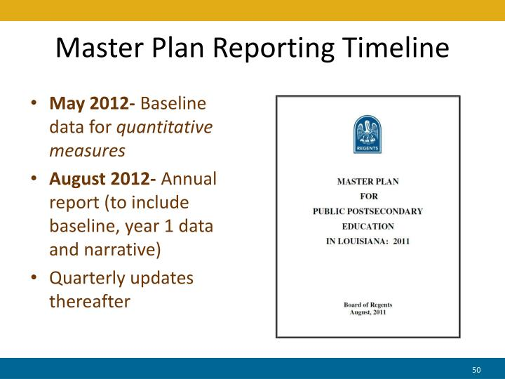 Master Plan Reporting Timeline