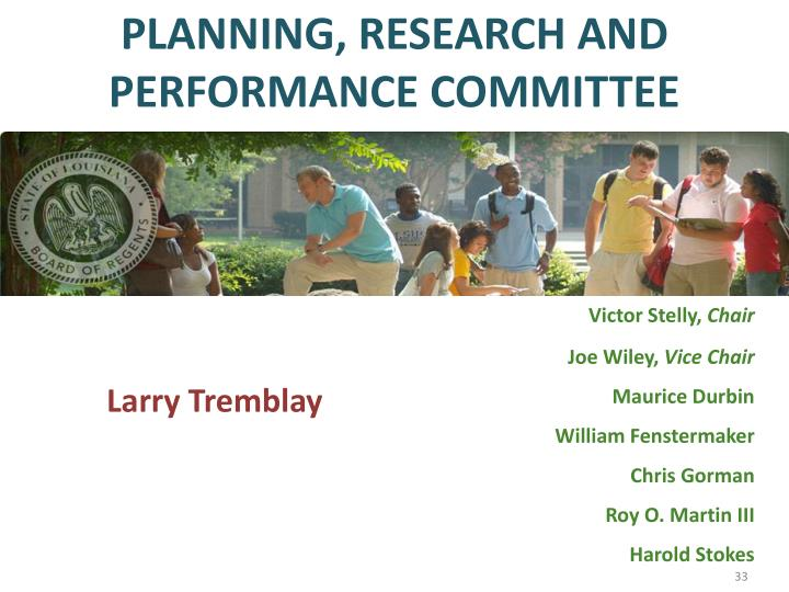 PLANNING, RESEARCH AND PERFORMANCE COMMITTEE