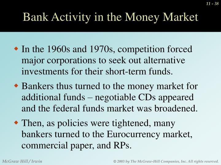 Bank Activity in the Money Market