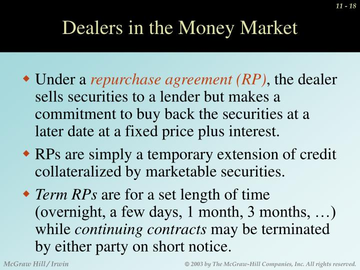 Dealers in the Money Market