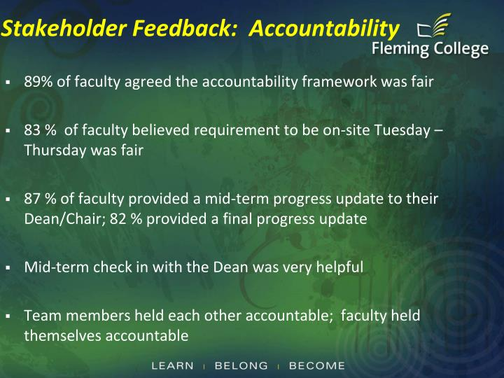 Stakeholder Feedback:  Accountability