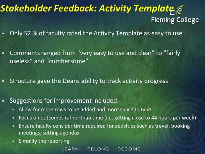 Stakeholder Feedback: Activity Template