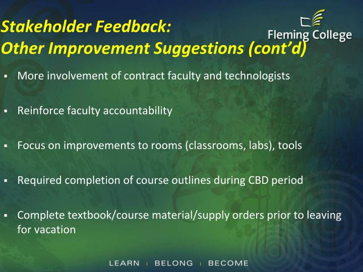 Stakeholder Feedback: