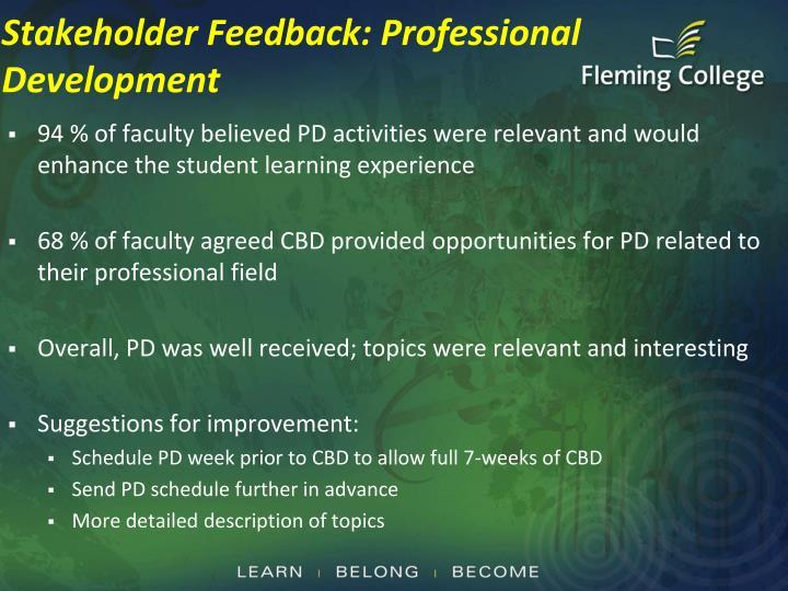 Stakeholder Feedback: Professional Development