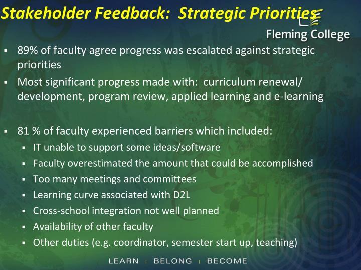 Stakeholder Feedback:  Strategic Priorities