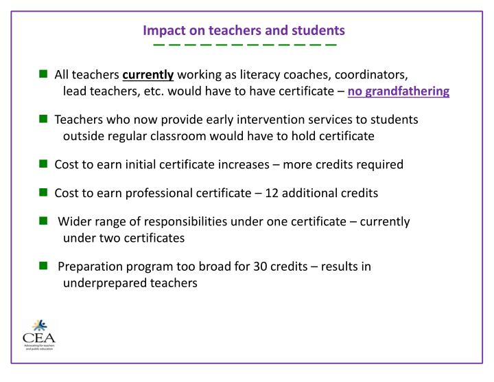 Impact on teachers and students