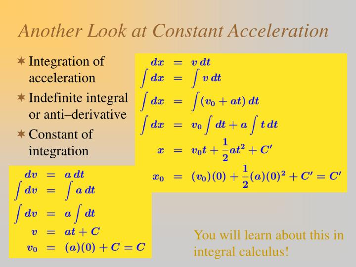 Another Look at Constant Acceleration