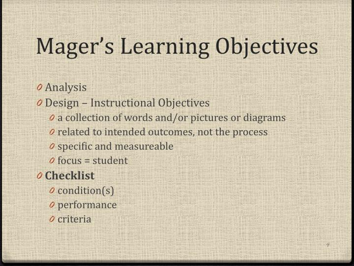 Mager's Learning Objectives