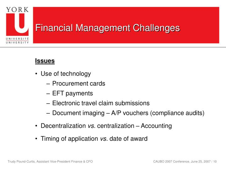 Financial Management Challenges
