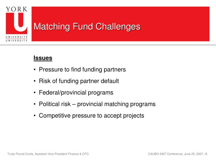 Matching Fund Challenges