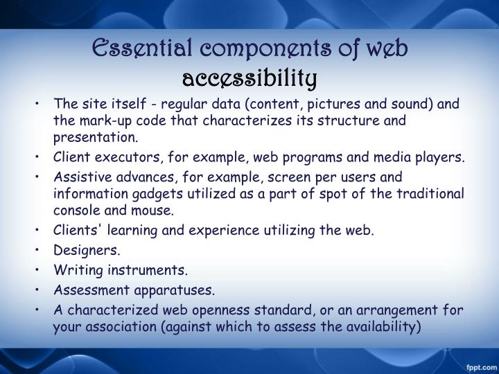 Essential components of web accessibility