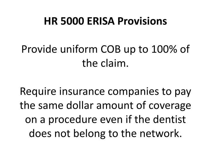 HR 5000 ERISA Provisions