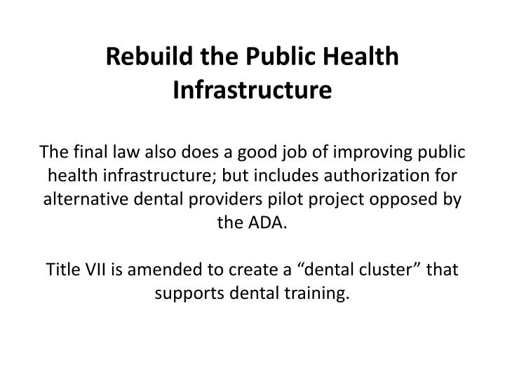 Rebuild the Public Health Infrastructure