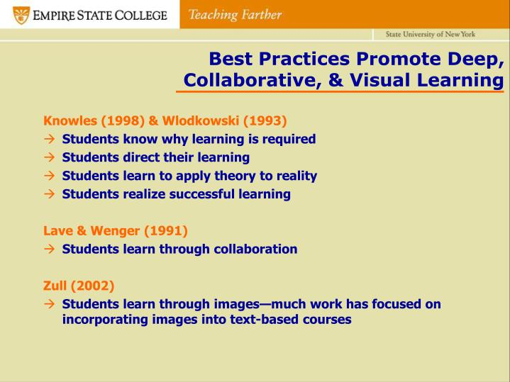 Best Practices Promote Deep, Collaborative, & Visual Learning