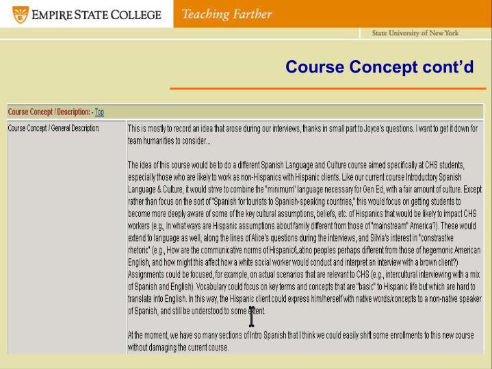 Course Concept cont'd