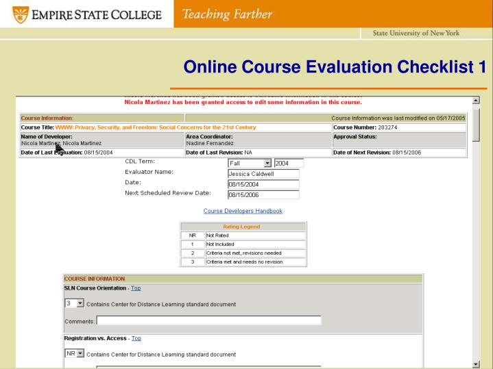 Online Course Evaluation Checklist 1