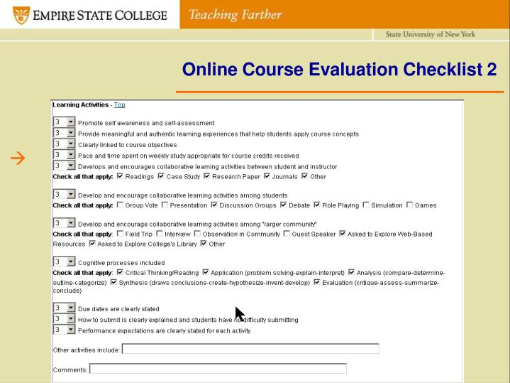 Online Course Evaluation Checklist 2