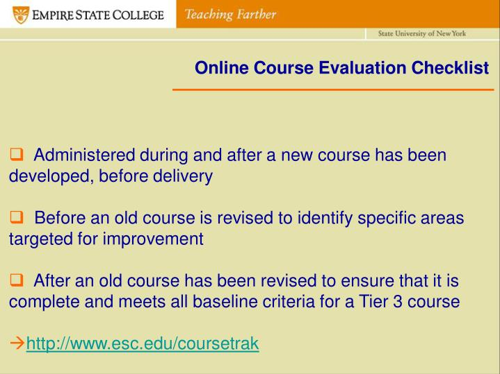 Online Course Evaluation Checklist