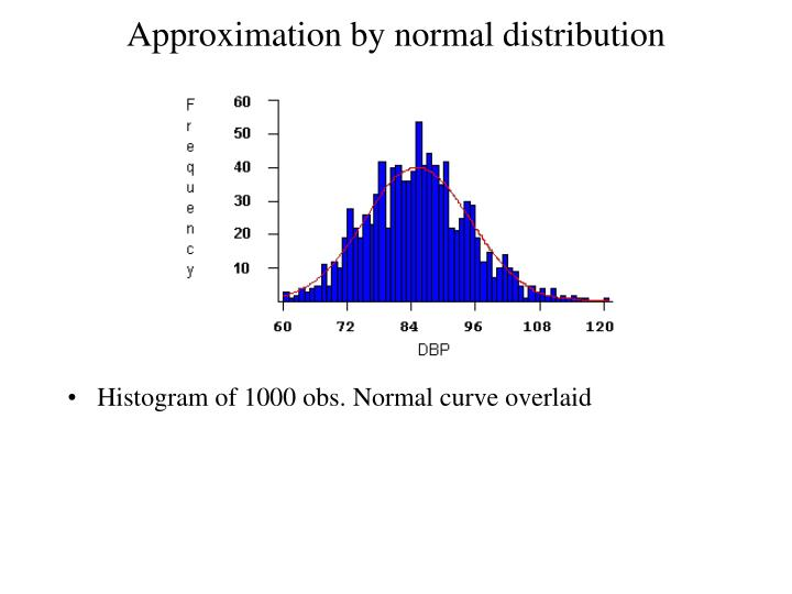 Approximation by normal distribution