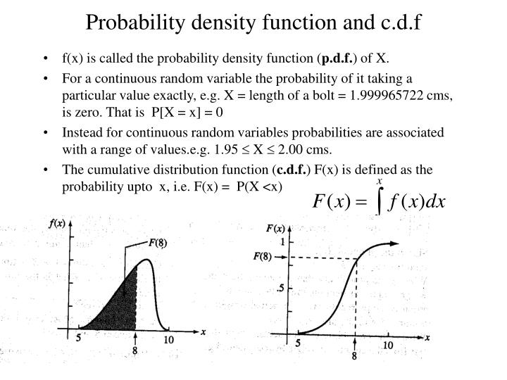 Probability density function and c.d.f