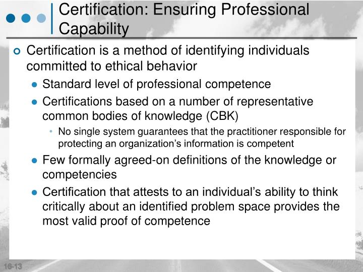 Certification: Ensuring Professional Capability
