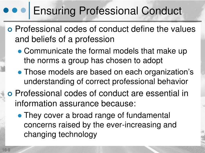 Ensuring Professional Conduct