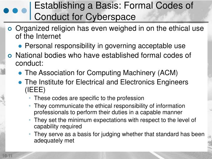 Establishing a Basis: Formal Codes of Conduct for Cyberspace