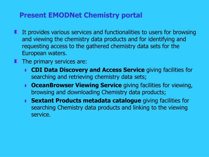 Present EMODNet Chemistry portal
