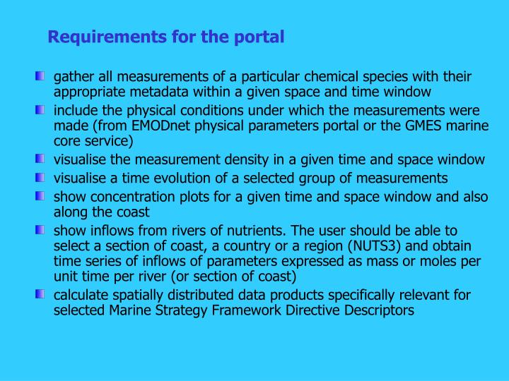 Requirements for the portal