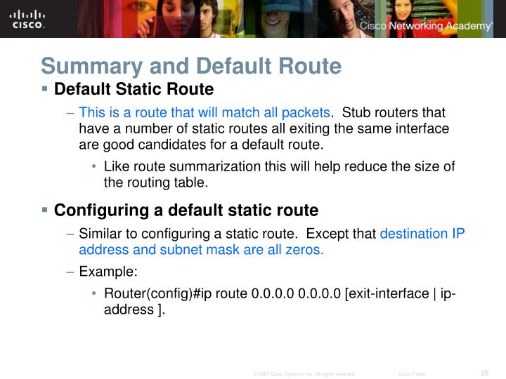 Summary and Default Route