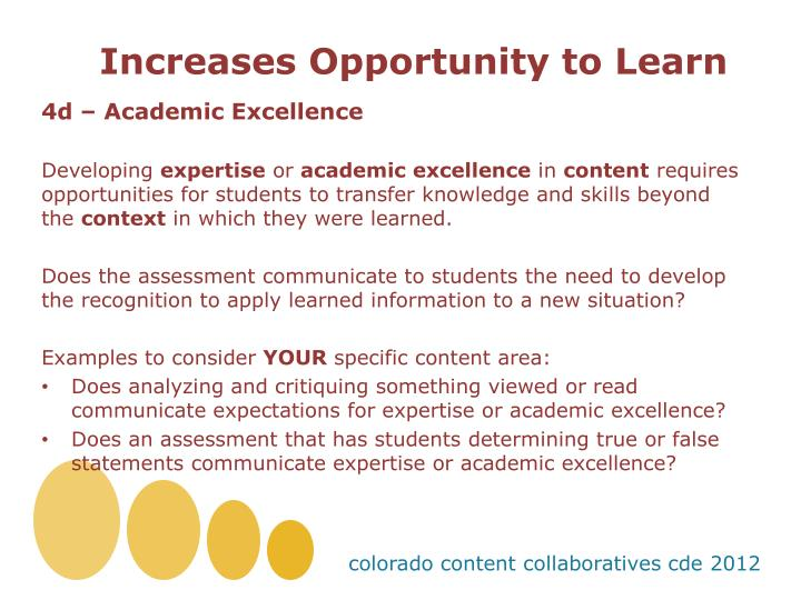 Increases Opportunity to Learn