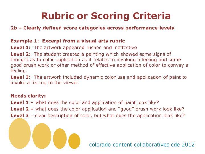 Rubric or Scoring Criteria