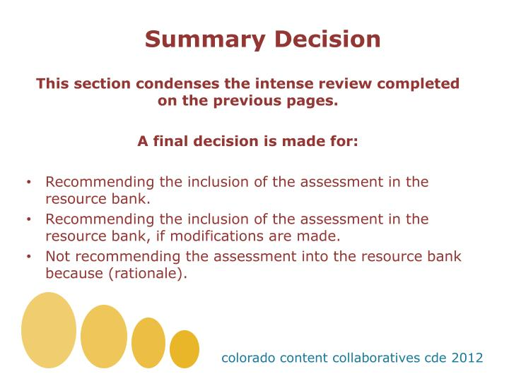 Summary Decision