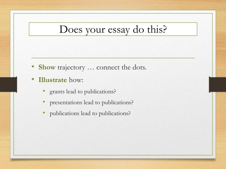 Does your essay do this?