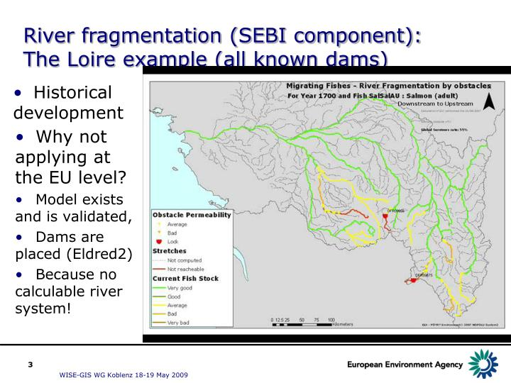 River fragmentation (SEBI component): The Loire example (all known dams)