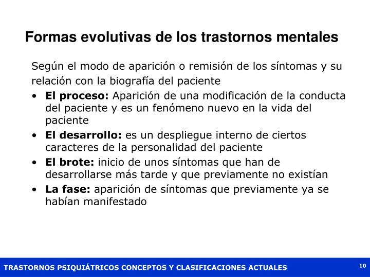 Formas evolutivas de los trastornos mentales