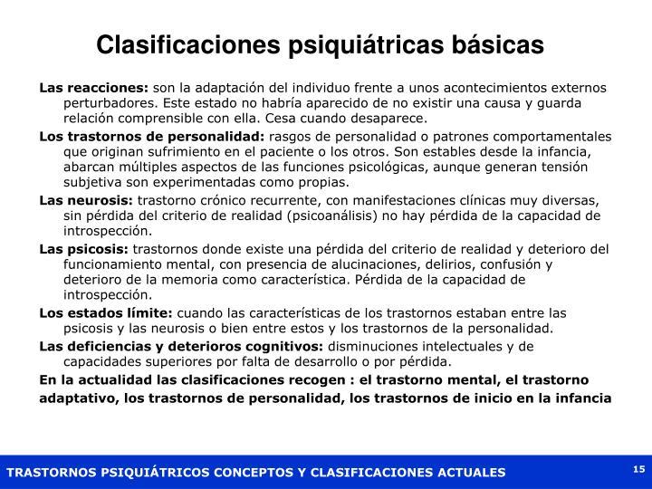 Clasificaciones psiquiátricas básicas