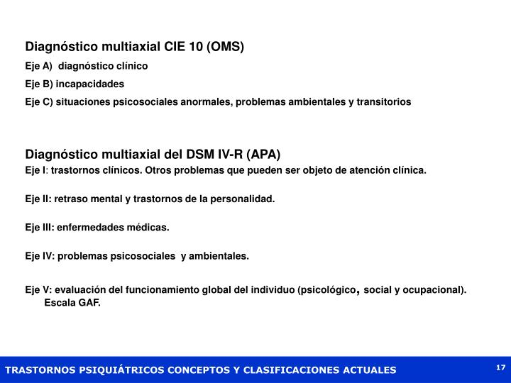 Diagnóstico multiaxial CIE 10 (OMS)