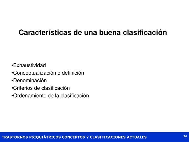 Características de una buena clasificación