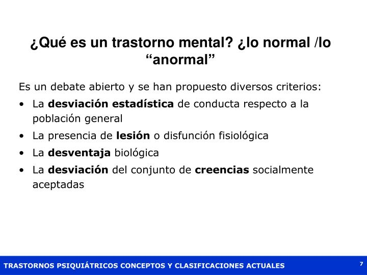 """¿Qué es un trastorno mental? ¿lo normal /lo """"anormal"""""""
