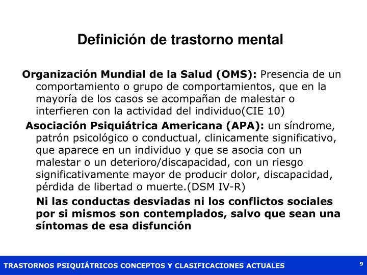 Definición de trastorno mental