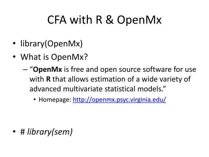 CFA with R & OpenMx