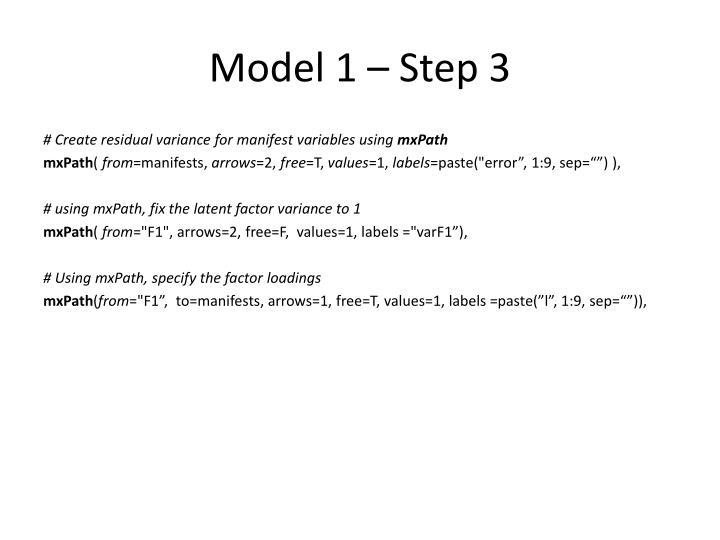 Model 1 – Step 3