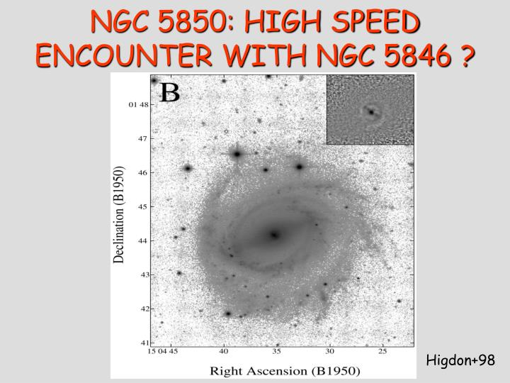 NGC 5850: HIGH SPEED ENCOUNTER WITH NGC 5846 ?