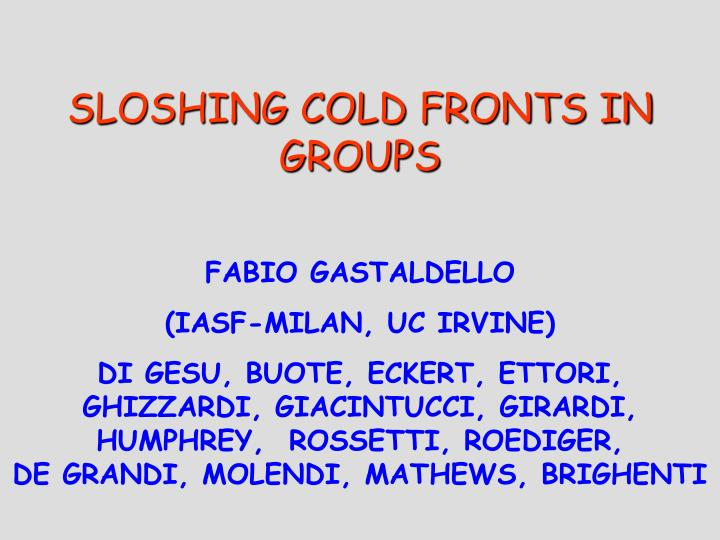 Sloshing cold fronts in groups